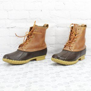 """LL Bean Brown 8"""" Thinsulate Lined Duck Boots Sz 9"""